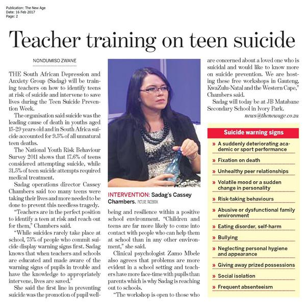 Teacher Training on Teen Suicide