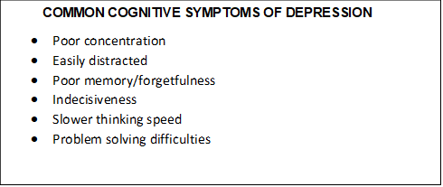 common cognitive symptoms depression