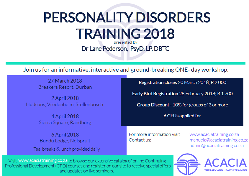 acacia personality disorders training 2018