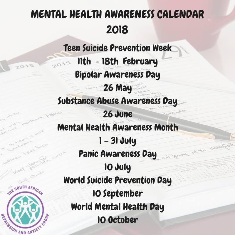 mental health awareness calendar 2018