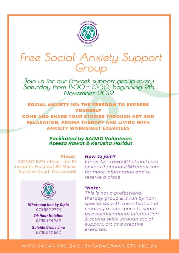 Social Anxiety Support Group Notice 2019