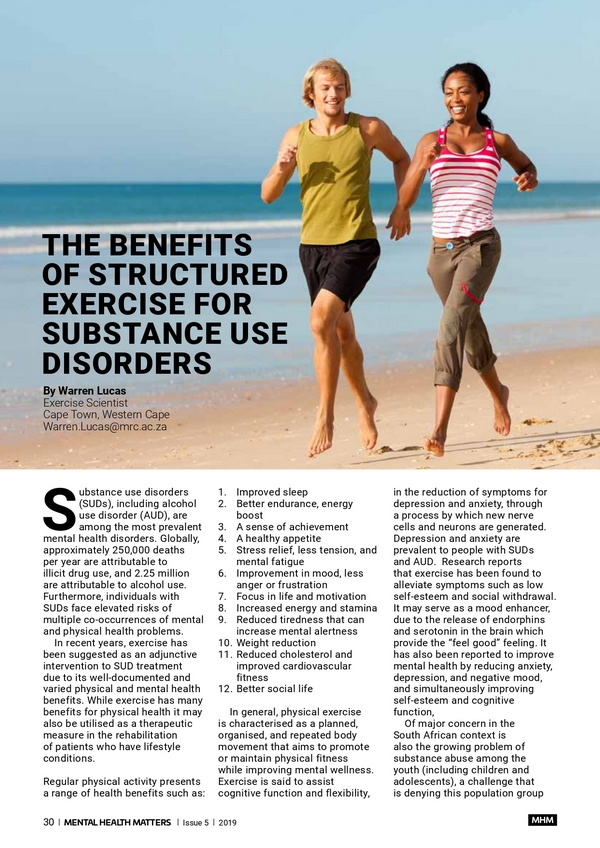 The Benefits of structured exercise for substance use disorders