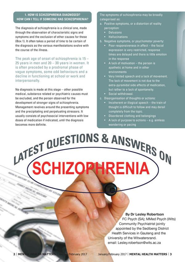 Latest Questions Answers on Schizophrenia 1