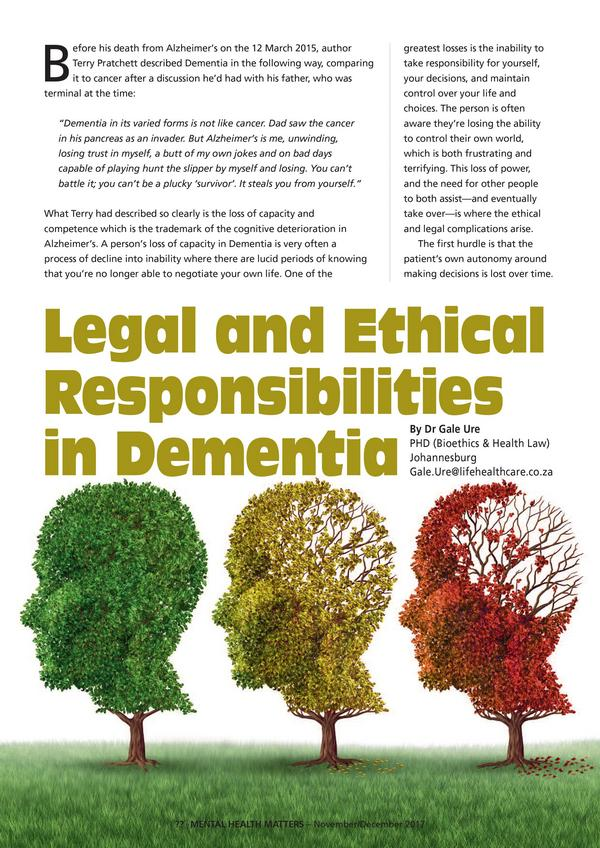 Legal and Ethical Responsibilities in Dementia 1 1