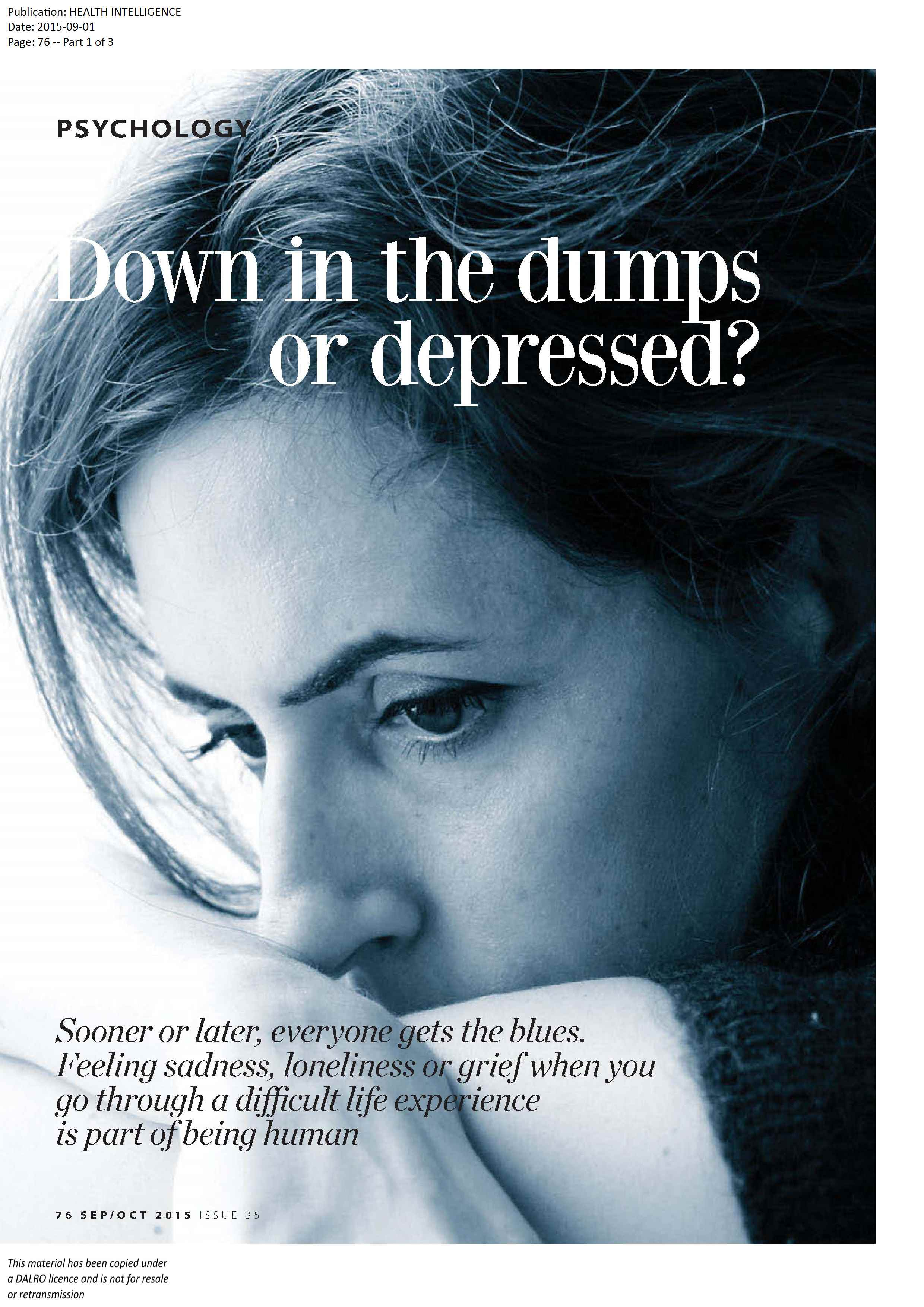 down in the dumps or depressed1