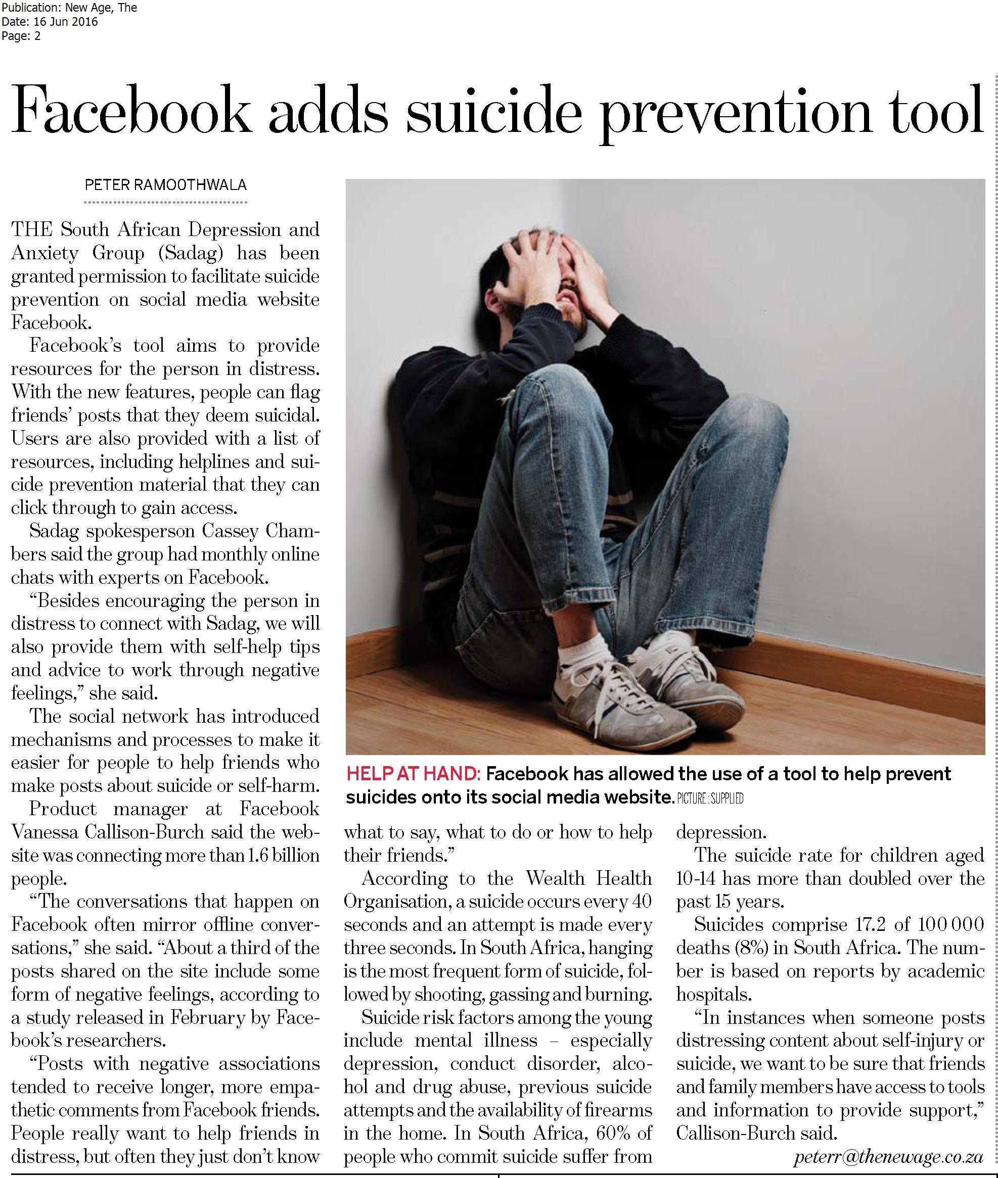 facebook adds suicide prevention tool