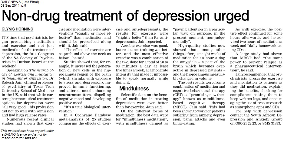non drug treatment of depression urged
