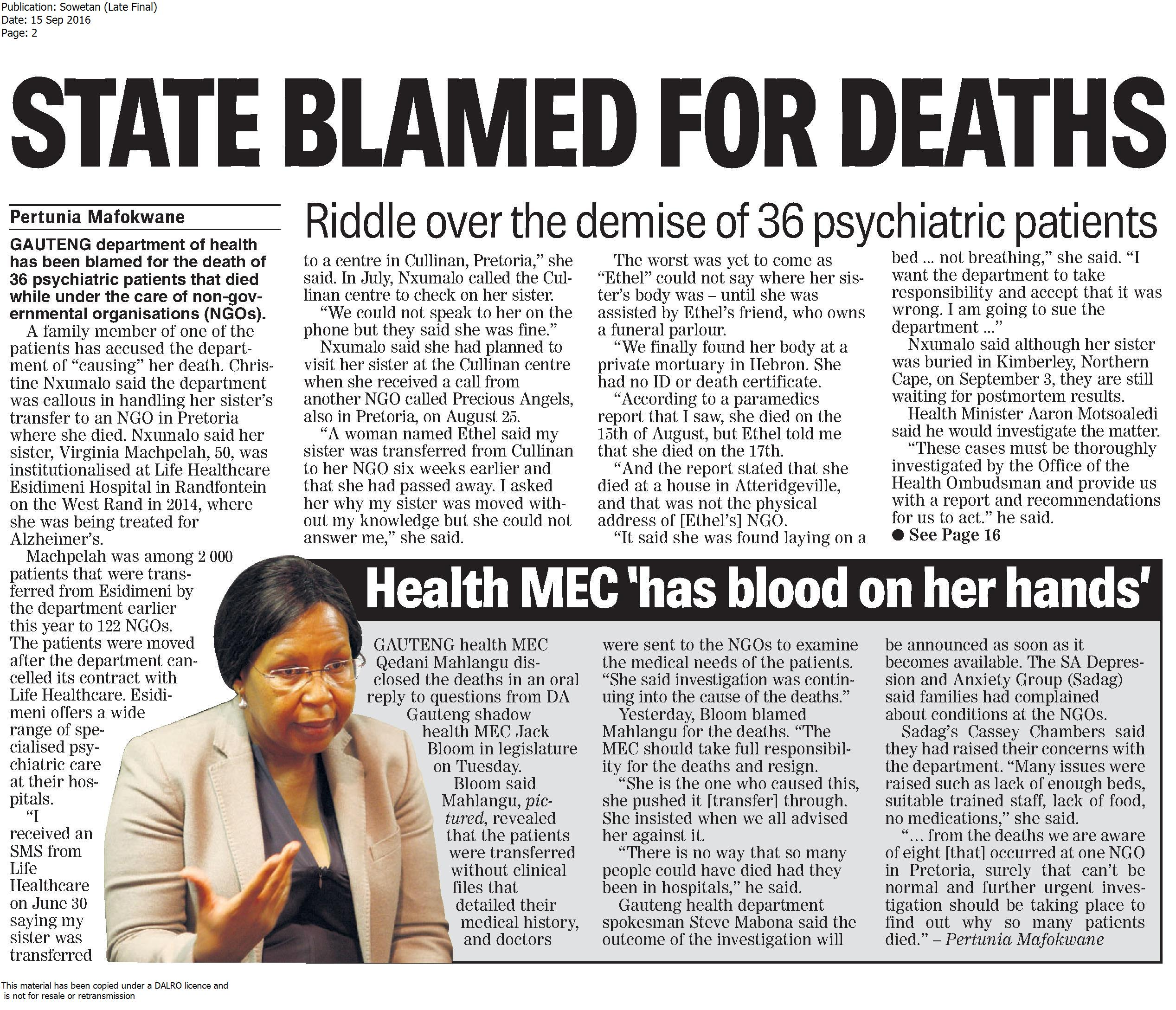 state blamed for deaths