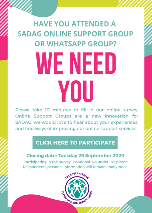 SADAG Online Support Group Member Survey Poster hyperlink